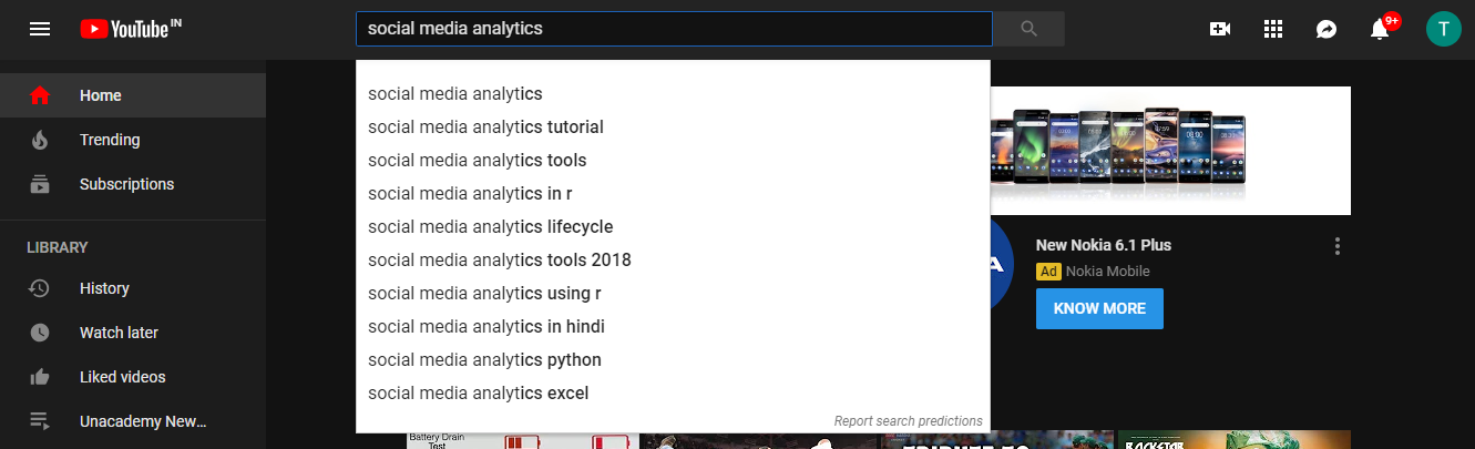 YouTube Autosuggestions- Konnect Insights